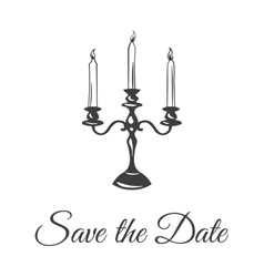 Three large candle in a candlestick Save The Date vector image
