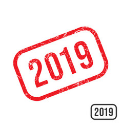 2019 new year rubber stamp with grunge texture vector image