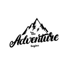 Adventure begins hand written lettering vector