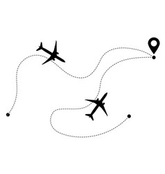 airplane line path icons flight routes vector image