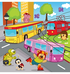 animals trolleybus tram bus vector image
