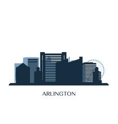 arlington texas skyline monochrome silhouette vector image
