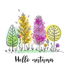 autumn landscape with watercolor trees vector image