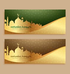 Beautiful ramadan kareem golden banners vector
