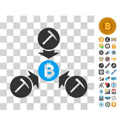 bitcoin mining pool icon with bonus vector image