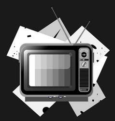 black and white tv vector image