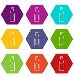 bottle cream icons set 9 vector image