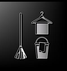 broom bucket and hanger sign gray 3d vector image