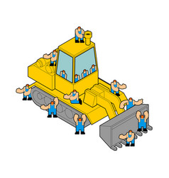 Bulldozer and workers tractor and road labor vector