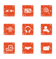Business search icons set grunge style vector