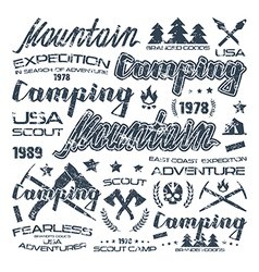 Camping typographic badges for t shirt vector image