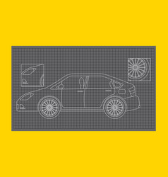 car schematic or car blueprint paper technical vector image