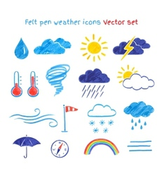 Child drawings weather symbols vector