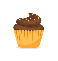 Chocolate cupcake icon vector