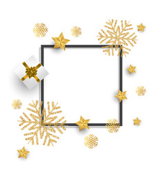 christmas background with glitter snowflakes gift vector image