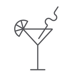 cocktail thin line icon bar and party drink sign vector image