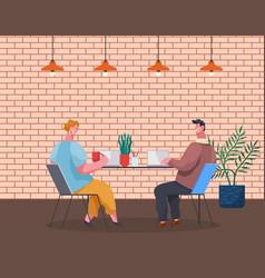 Coffee break teamwork workers talk woman with vector