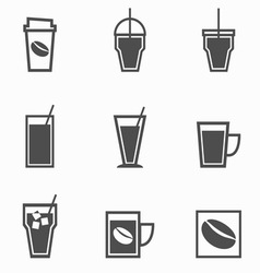 Coffee drinks icons collection on white background vector