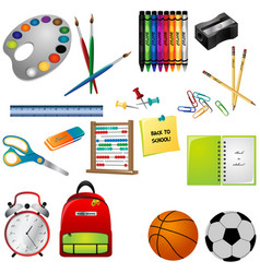 Collection of education tools graphic vector