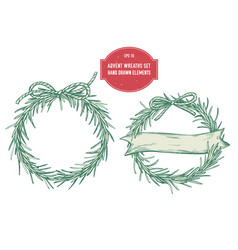 collection of hand drawn advent wreaths vector image