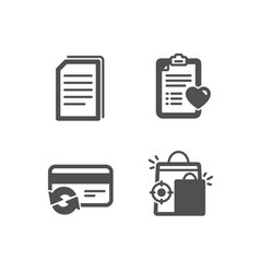 Copy files change card and patient history icons vector