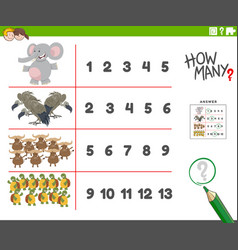 Counting activity with cartoon animal characters vector