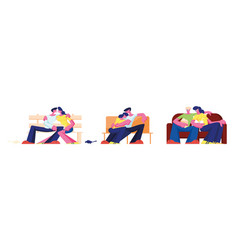 couple hug sitting on couch at home bench in park vector image