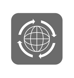 Customer service icon with globe sign vector