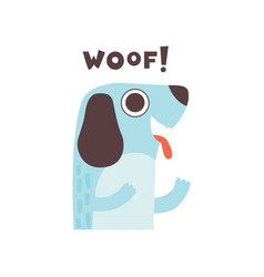 cute dog woofing funny cartoon pet animal making vector image
