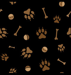 Dog paws bones and game balls seamless pattern vector
