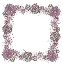 doodle square floral frame for girls vector image
