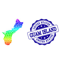 Dot rainbow map of guam island and grunge stamp vector