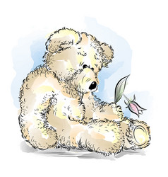 drawing unhappy teddy bear with broken flower vector image