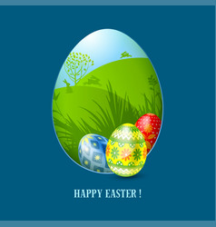 Easter greeting card template vector