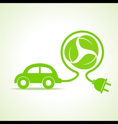 Eco car concept with recycle icon of leaf stock ve vector