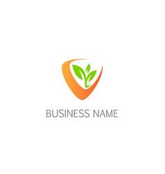 ecology plant organic logo vector image