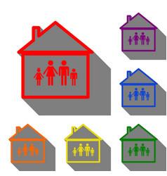 family sign set red orange vector image