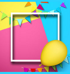 Festive background with frame balloon and flags vector