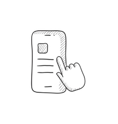 Finger touching smartphone sketch icon vector image