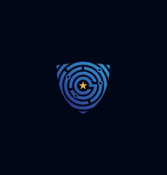 Fingerprint tech shield security guard logo design vector