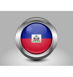 Flag of Haiti Metal and Glass Round Icon vector