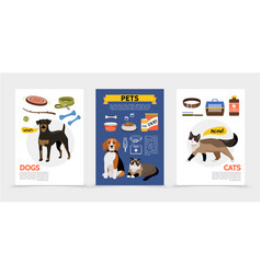 Flat colorful pet shop brochures vector