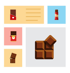flat icon cacao set of sweet wrapper cocoa and vector image