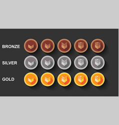 Flat set game rank design bronze silver and vector