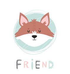 fox hand drawn face character vector image