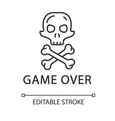 Game over linear icon virtual video level vector