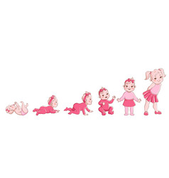 girl growth process life cycle from newborn vector image
