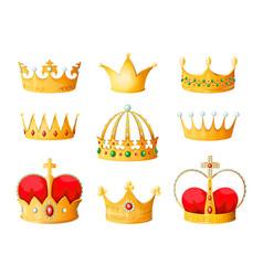 gold cartoon crown golden yellow emperor prince vector image