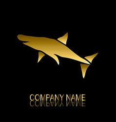 golden shark symbol vector image