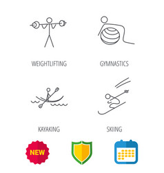 Gymnastics kayaking and skiing icons vector